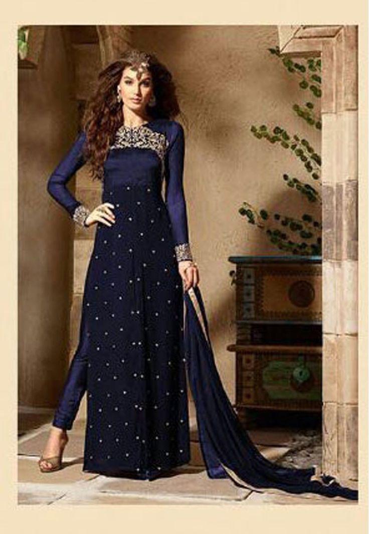 """""""Mistrust all enterprises that require new #clothes."""" Shop Royal Blue Color Georgette #Designer #Anarkali #Salwar #Kameez"""