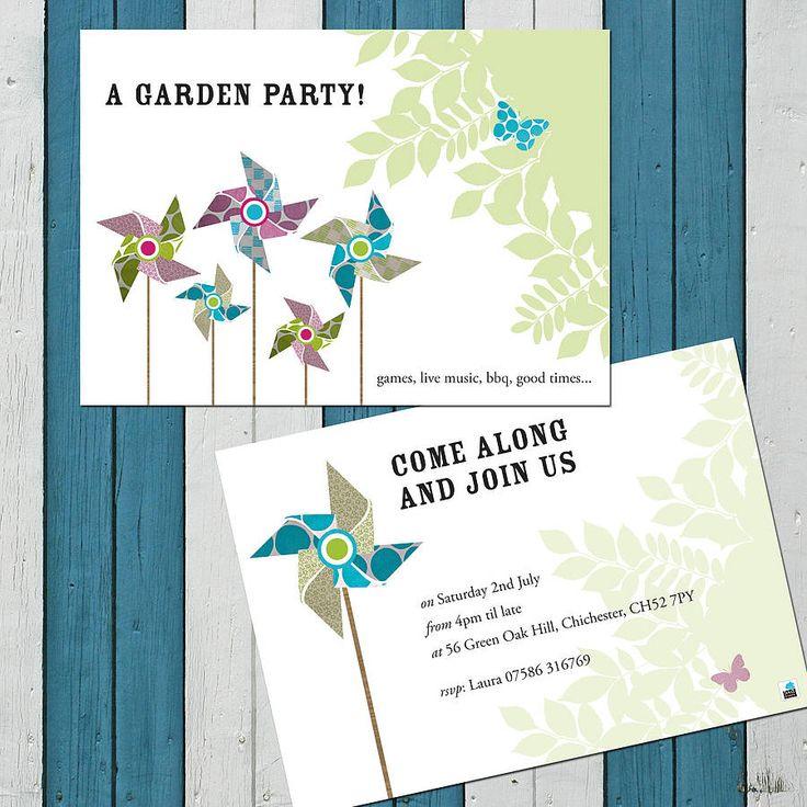 pack of ten personalised pinwheel invites by little bulldog design   notonthehighstreet.com