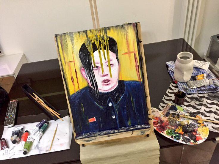 Emo Kim Jong-on - olio 30x40