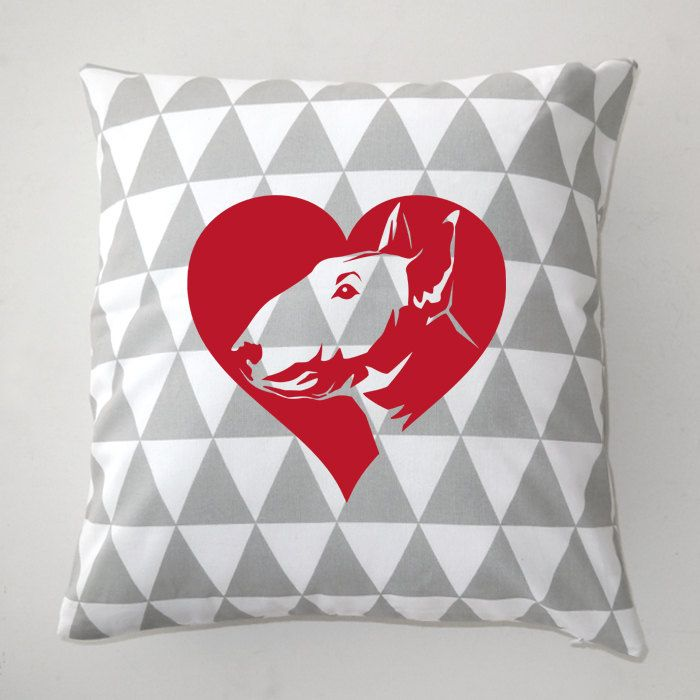 Bull Terrier Decorative pillow, cushion In Love by PSIAKREW on Etsy