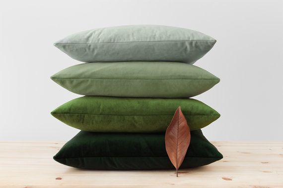 "Green Velvet Pillow Cover Solid Green Cushion Moss Light Pistachio Sage Dark Hunter Green Throw Pillows Soft Velvet Lumbar 16"" 18"" 20"" 22"""