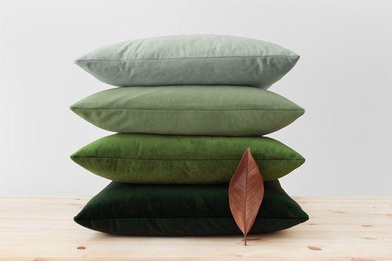 """Green Velvet Pillow Cover Solid Green Cushion Moss Light Pistachio Sage Dark Hunter Green Throw Pillows Soft Velvet Lumbar 16"""" 18"""" 20"""" 22"""""""