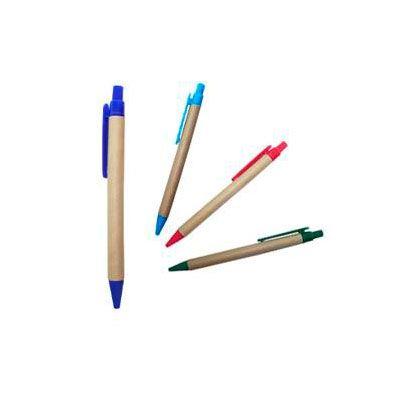 Bolígrafo ecológico pasta, de cartón reciclado, con clip plástico. Colores: Rojo, celeste, verde y azul. Medida: 14 cm x 1 cm.