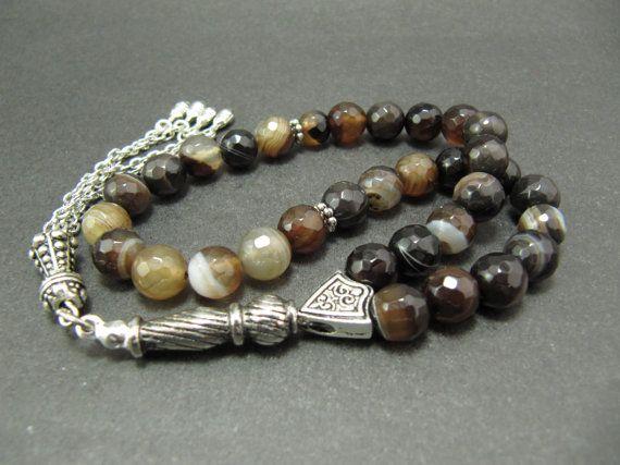 Turkish Islamic 33 Prayer Beads, Tesbih, Genuine Madagascar Agate Beads, Tasbih, Misbaha, Sufi, Worry Beads, pocket beads