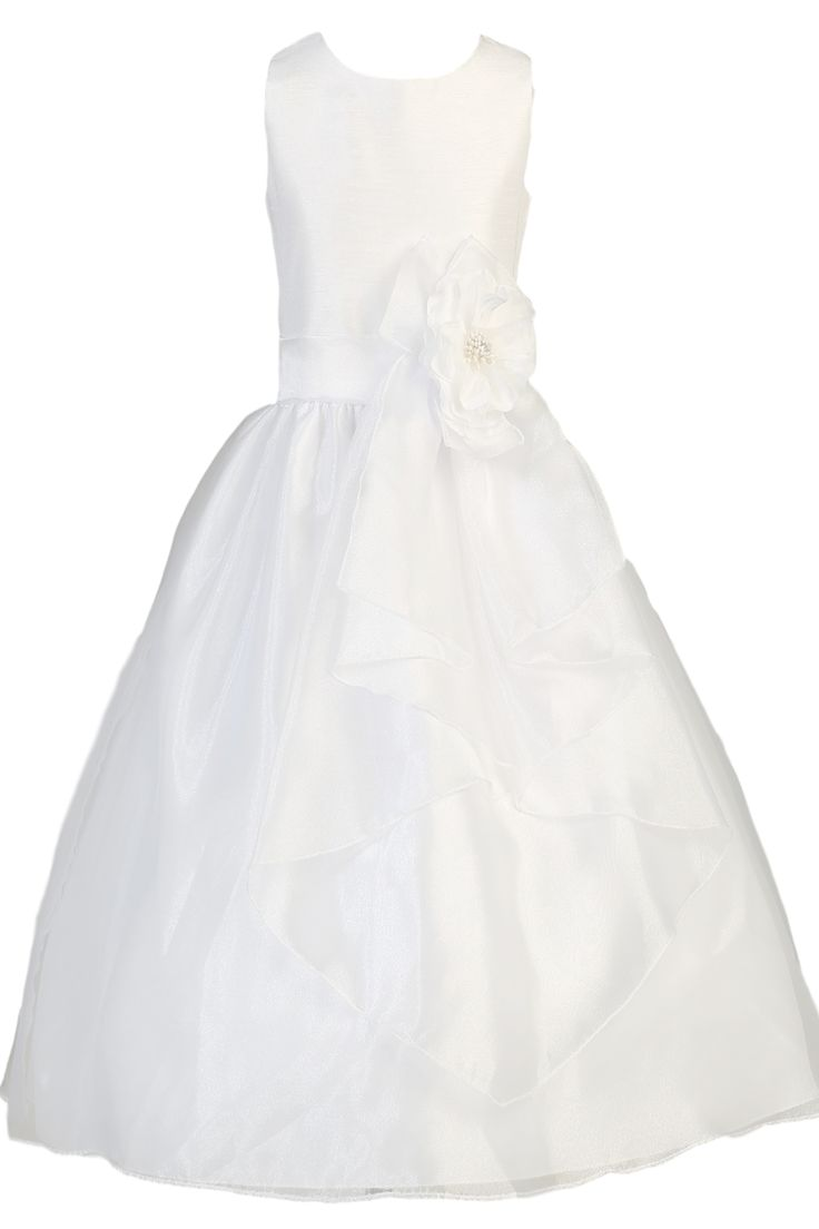 Crystal Organza & Shantung White First Holy Communion Dress with Long Front Sash (Girls Sizes 7 to 12)