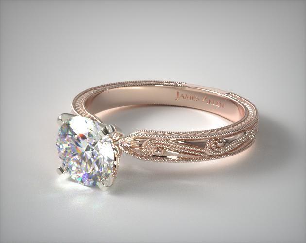 engagement rings, vintage, 14k rose gold engraved solitaire engagement ring item 53145