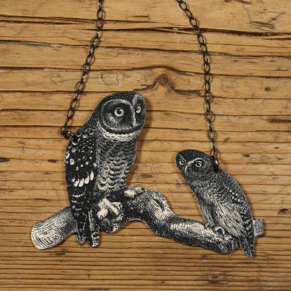 Owl necklace: Mothers And Child, Child Owl, Owl Necklaces, Mother And Child, Owl Wear, Odd Owl, Owl Jewellery, Owl Neckalc, Potter Necklaces
