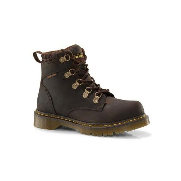 Dr. Martens Holkham Non-safety Short Lace-Up Low Boot ($135) ❤ liked on Polyvore featuring shoes, boots, ankle booties, gaucho brown, lace up ankle booties, short boots, short brown boots, brown boots and leather lace up booties