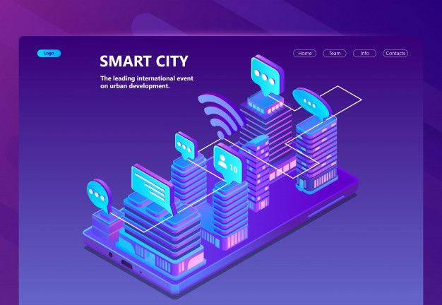 Download Site With 3d Isometric Smart City For Free City Vector