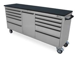 "Montezuma 72"" Stainless Steel 11-Drawer Tool Chest with Multi-Function Organizer"