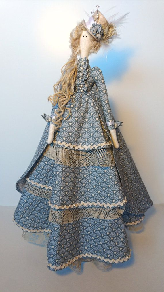 Tilda Doll - With 1870s bustle skirt and feathered top hat