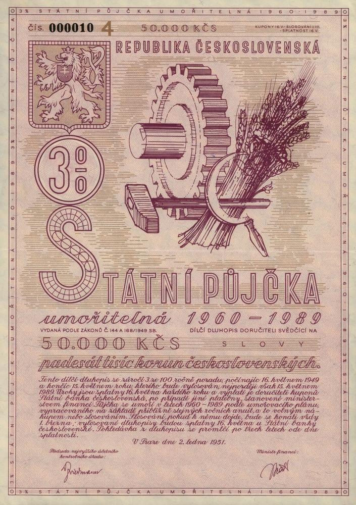 Státní půjčka umořitelná 1960 - 1989 na 50 000 Kčs. Praha, 1951.
