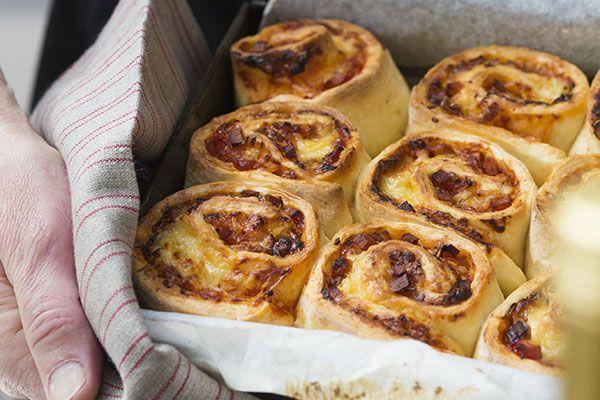 Cheese, ham and rosemary pinwheel scones