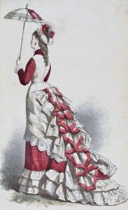 La Mode Artistique--1875 described as a toilette for the races.  In 1875 the Early Bustle period began to wane. The bulk of the dress moved downward, in preparation for the Natural Form period. Skirts were narrower in front, with quite a lot of fabric behind. A skirt of this shape would have been worn with a long wire bustle, topped by a trained petticoat.