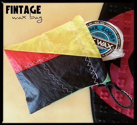 Wax on Wax off.. Wax Bag Homemade In The Caribbean out of Old Kites. Red.Gold.Green. SOLD