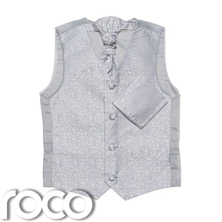 Boys Silver waistcoat, Boys Cravat, Boys Swirl Waistcoat, Page Boy Waistcoats