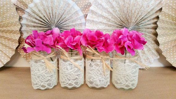 Lace Mason Jars Vintage Wedding Centerpieces Rustic by LimeAndCo