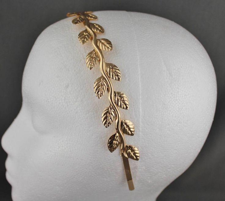 7.91$  Buy here - http://viyuz.justgood.pw/vig/item.php?t=gkbdq3q47577 - Gold shiny vine leaf crown Leaves headband hair band greek toga roman costume 7.91$
