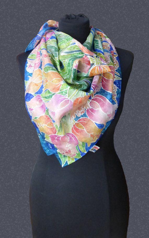 foulard di seta pura dipinto a mano di factoryoftheartideas