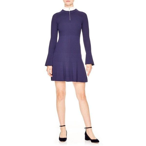 Women's Sandro Glacen Jewel Detail Knit Dress (€330) ❤ liked on Polyvore featuring dresses, navy, ribbed dress, navy blue sparkly dress, rib knit dress, sandro dress and navy blue dress