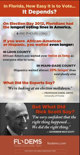 Via Florida Democratic Party and posted at We Leave No One Behind    #votersuppression #Florida #RickScott