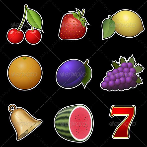 Slot Machine Fruit Symbols - Food Objects