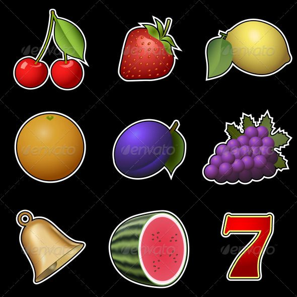 Slot Machine Fruit Symbols - Food Objects