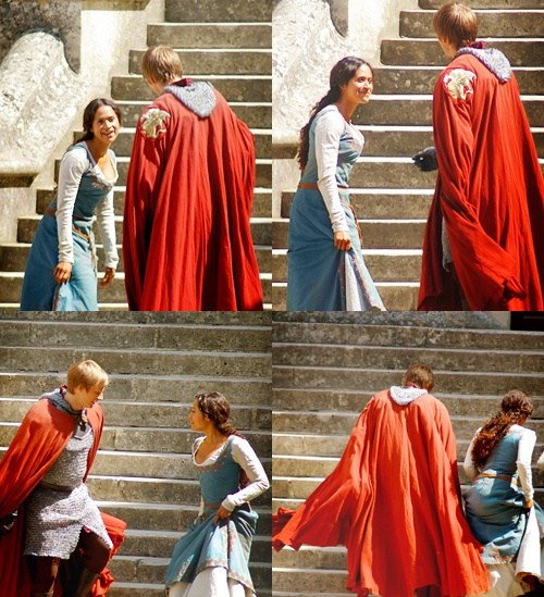 """On Set """"Merlin"""" - Bradley James and Angel Coulby"""