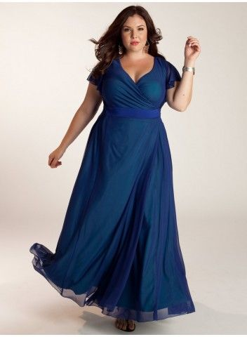 OMG LOVE IT! ♥ #plussize dress at www.curvaliciousclothes.com Set-in flutter sleeves and A-line skirt is set aglow with its deep gem tone hue. A true wrap-around silhouette that adjusts with ties to achieve your desired coverage makes this a summer staple!