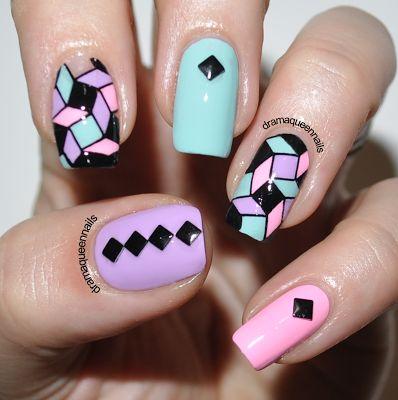 Multi color checkboard nailart
