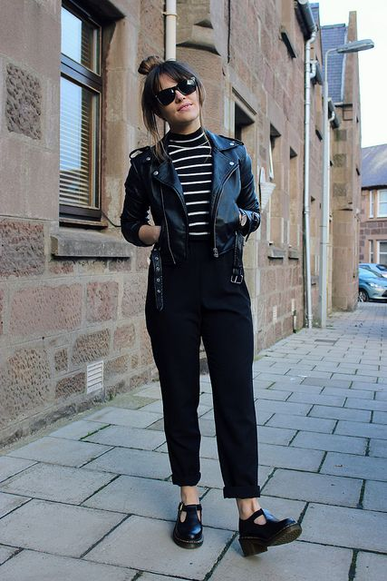 Jumpsuit - Topshop | Cropped polo neck - New Look | Biker jacket - Oh My Love | Shoes - Dr Martens @ Bank