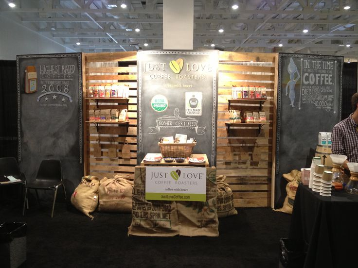 Here's a trade show booth I built for Just Love Coffee Roasters. It goes together with locking latches and and be downsized for a smaller booth space and slightly different looks. The look can also be changed with different chalkboard art.