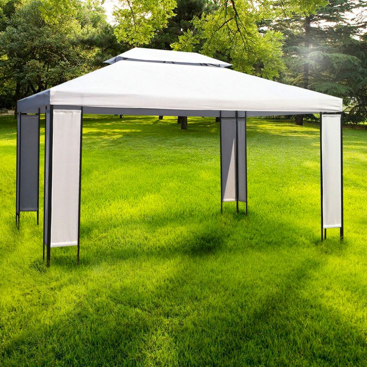 Outdoor Metal Party Gazebo Garden White Shelter Tent Canopy Sunshade Protector