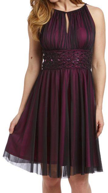Black & Magenta Sheer-Overlay Empire-Waist Dress