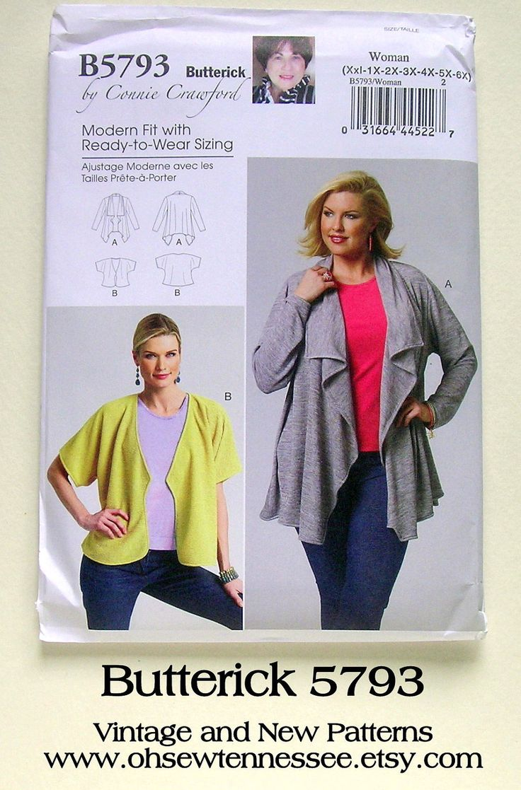 Jackets for Plus Size Gals - Butterick 5793 - a New Sewing Pattern, Size 22W-44W. $6.50, via Etsy.