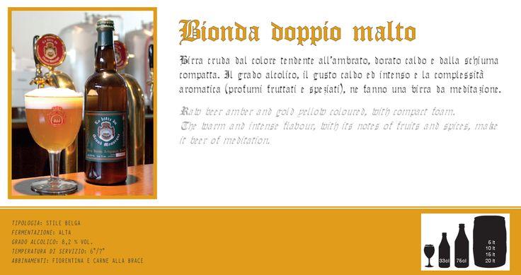 Birra bionda doppio malto artigianale cruda. Scopri e prova tutte le altre birre su: www.demarca.it
