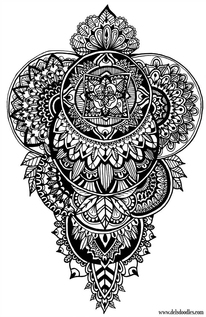 - Disks Doodle - Colouring Page By WelshPixie Mandala Tattoo