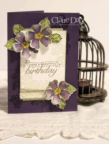 Stampin Up Birthday Bossoms handmade birthday card by Claire Daly, Melbourne Australia for SB110.