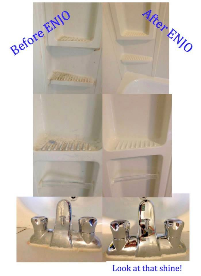 ENJO cleans all that soap scum and buildup we all have.