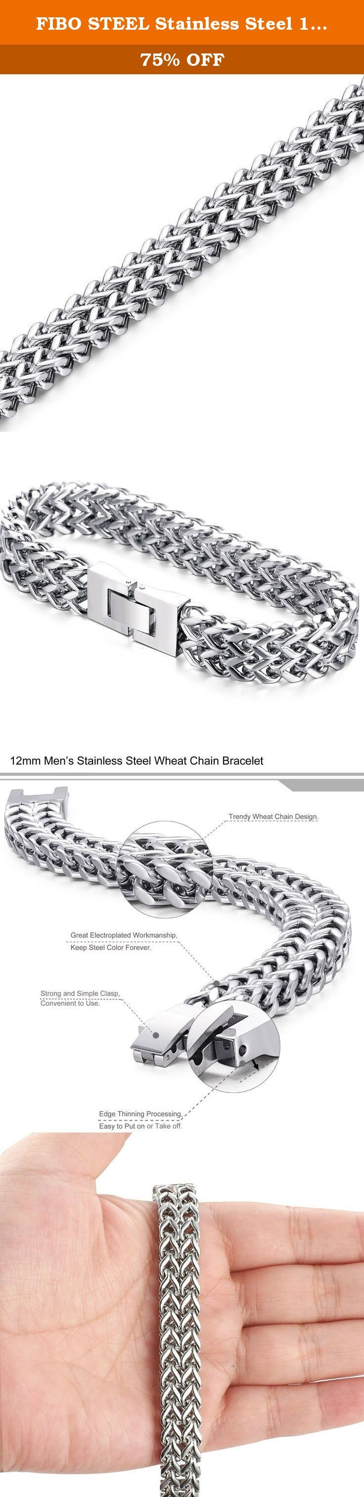 FIBO STEEL Stainless Steel 12MM Two-strand Wheat Chain Bracelet for Men Punk Biker Bracelet,8.0 inches. FIBO STEEL - I never wanted to be your whole life. Just your favorite part. FIBO STEEL main engage in selling all kinds of high quality stainless steel jewelry at affordable price. Best shopping experience is our main goal that we try our best to arrive all the time. FIBO STEEL - Do what we say, say what we do In order to let you have a happy shopping experience,we have done and will do…