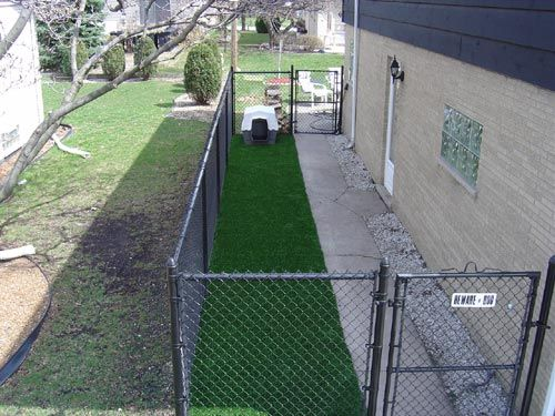 Dog Run idea-There is a lot of good info online about creating a dog run that is safe and healthy for them. When you create your dog run, I recommend either using slightly raised wood decking or synthetic turf on the ground so that it doesn't turn into a mud pit. Both solutions look great, and are easy for you to hose down. I am including some photos of very nice dog runs. Shelter from sun and rain will keep your dog comfortable in any weather.
