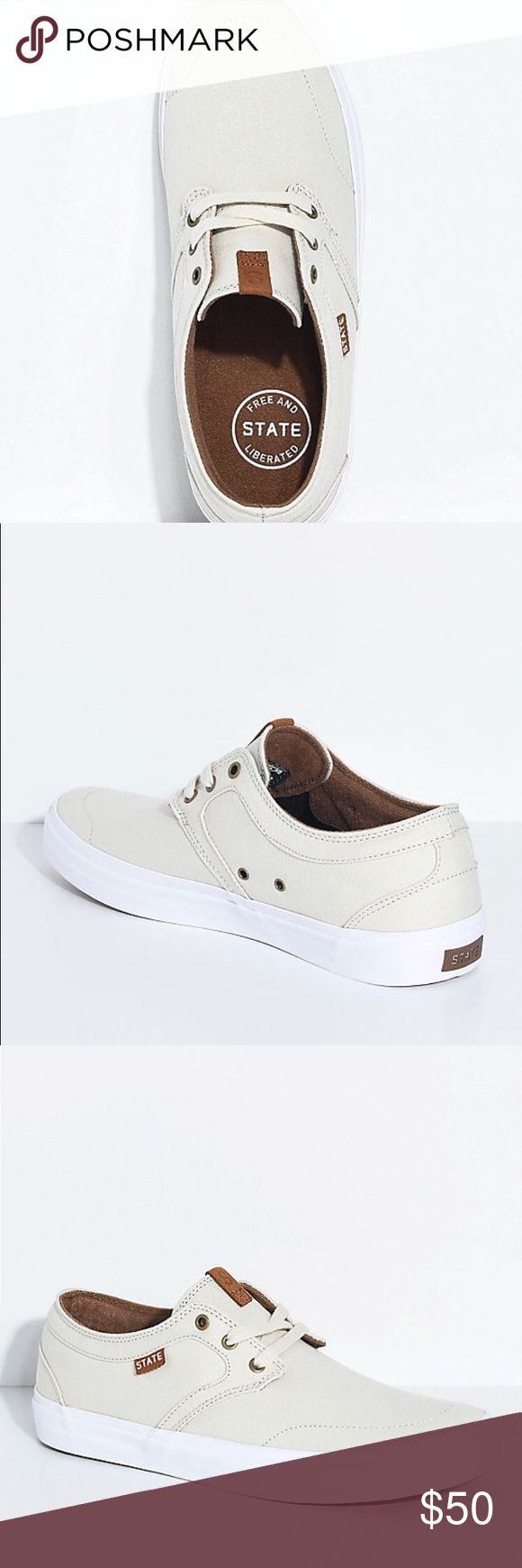 STATE BISHOP CREAM & WHITE CANVAS SKATE SHOES Brand new still in the box(never worn) 1. State Shoes Sneakers