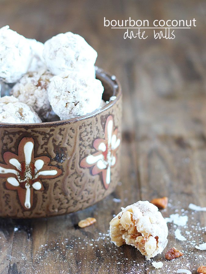 Bourbon Coconut Date Balls ~ Crispy, chewy, sweet & salty... perfect ...