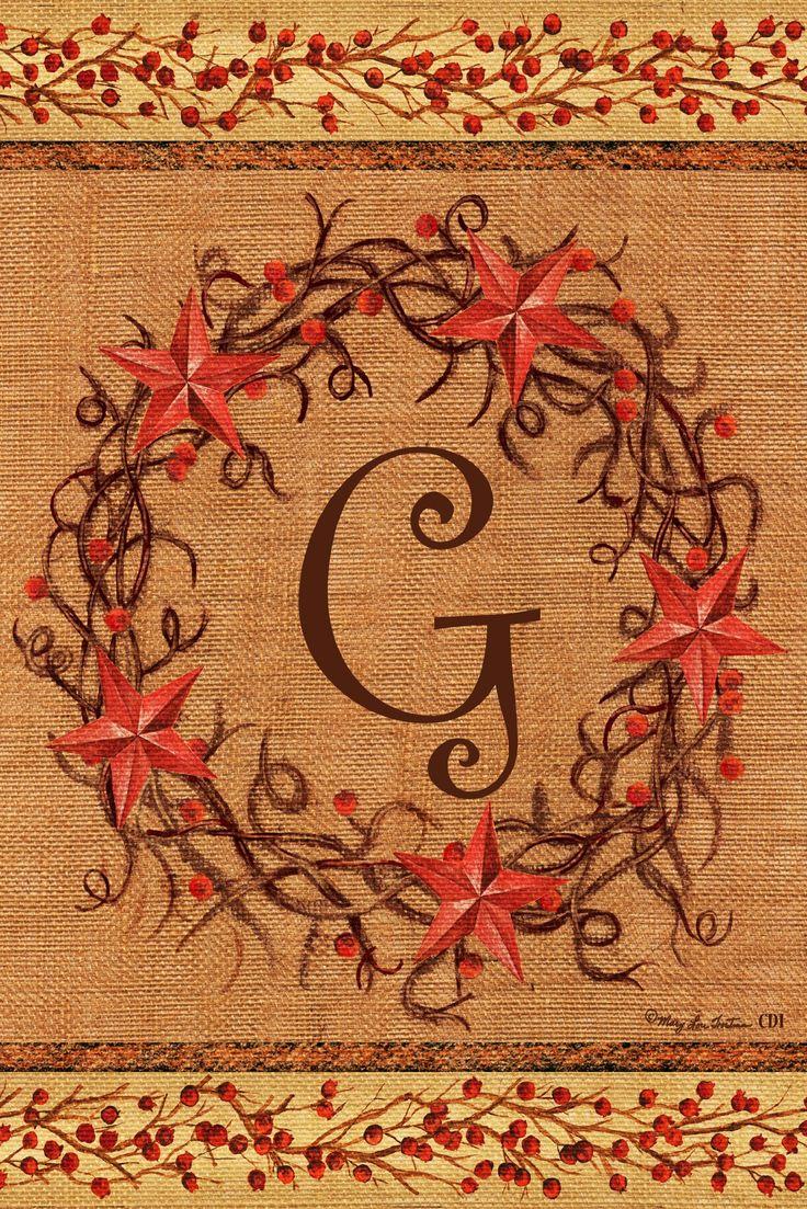 Star Wreath - G - DOUBLE SIDED Monogram Decorative Flag - Garden Size 12 Inch X 18 Inch