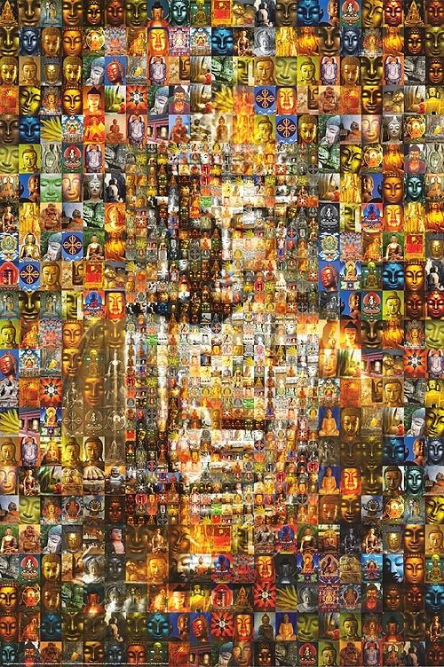 Buddha collage...each individual tiny image is Buddha.