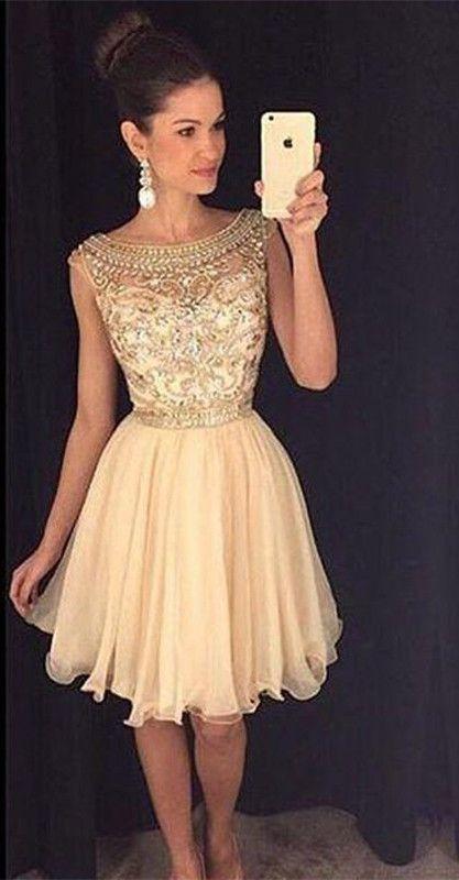 Champagne Beading Bodice Chiffon Homecoming Dresses Prom Dress,HC1776