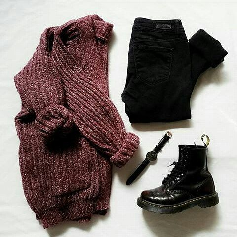 burgundy sweater, black jeans, black boots, black watch