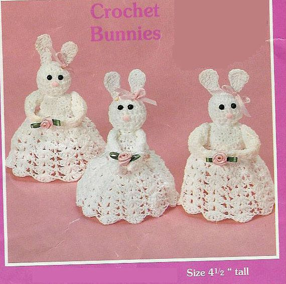 Crochet Bunnies Vintage Pattern angels, granny easter crochet pattern bunny Amigurumi plush toy ornament angel ears pdf instant download