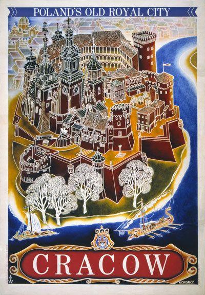 Vintage Cracow Krakow Poland Royal City Polish Travel Poster