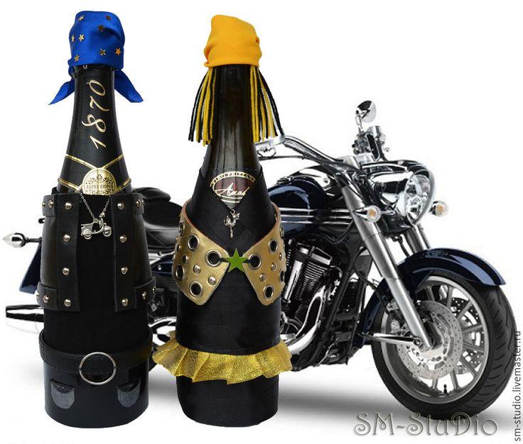 Купить Байкеры. Чехлы на свадебное шампанское. Байкерская свадьба - байкер, байкеры, подарок байкеру
